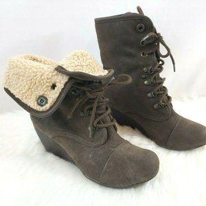 Blowfish Brown Wedge Faux Fur Chukka Boots